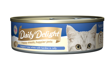 Daily Delight Jelly - Skipjack Tuna White with Sardine Canned Cat Food, case of 24 - Push Pets Singapore