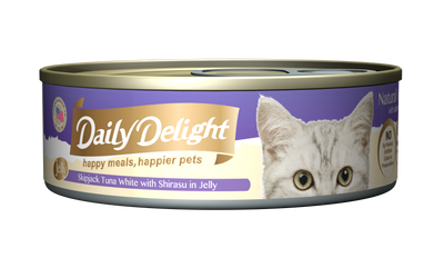 Daily Delight Jelly - Skipjack Tuna White with Shirasu Canned Cat Food, case of 24 - Push Pets Singapore