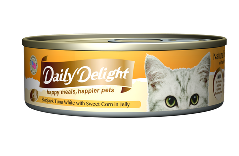 Daily Delight Jelly - Skipjack Tuna White with Sweet Corn Canned Cat Food, case of 24 - Push Pets Singapore
