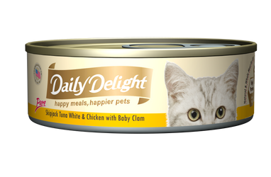 Daily Delight Pure - Skipjack Tuna White & Chicken with Baby Clam Canned Cat Food, case of 24 - Push Pets Singapore