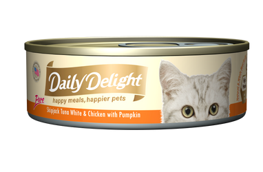 Daily Delight Pure - Skipjack Tuna White & Chicken with Pumpkin Canned Cat Food, case of 24 - Push Pets Singapore