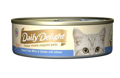 Daily Delight Pure - Skipjack Tuna White & Chicken with Salmon Canned Cat Food, case of 24 - Push Pets Singapore