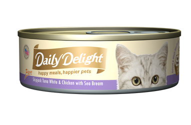 Daily Delight Pure - Skipjack Tuna White and Chicken with Sea Bream Canned Cat Food, case of 24 - Push Pets Singapore