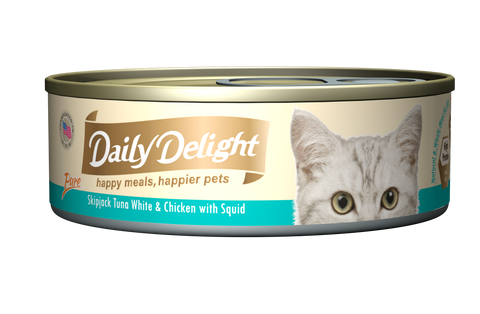 Daily Delight Pure - Skipjack Tuna White and Chicken with Squid Canned Cat Food, case of 24 - Push Pets Singapore