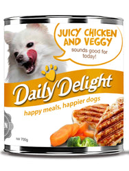Daily Delight Juicy Chicken and Veggy Canned Dog Food, 700g, case of 24 - Push Pets Singapore