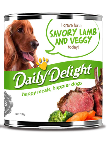 Daily Delight Savory Lamb And Veggy Canned Dog Food, 700g, case of 24 - Push Pets Singapore