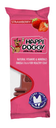 Happi Doggy Large Breed Dental Chew Zest (6 inch Strawberry)