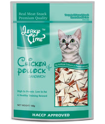 Jerky Time Heart Chicken Jerky With Pollock Sandwich For Cat 100g