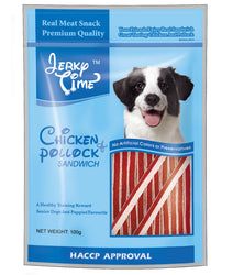 Jerky Time Dry Chicken Jerky With Pollock Sandwich For Dog 100g