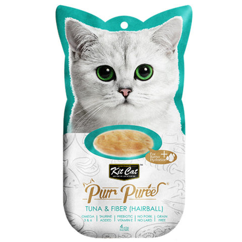 Kit Cat Pure Puree Tuna & Fiber (Hairball Control) Treats - Push Pets Singapore
