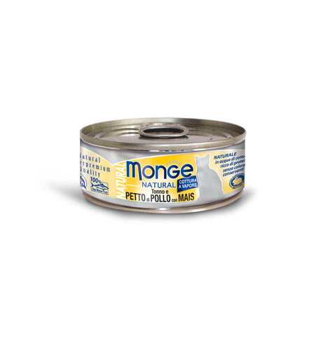 Monge Natural Tuna And Chicken With Corn Cat Food, 80g