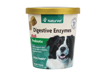 NaturVet Digestive Chew Enzymes Plus Probiotic Soft Chews for Dogs