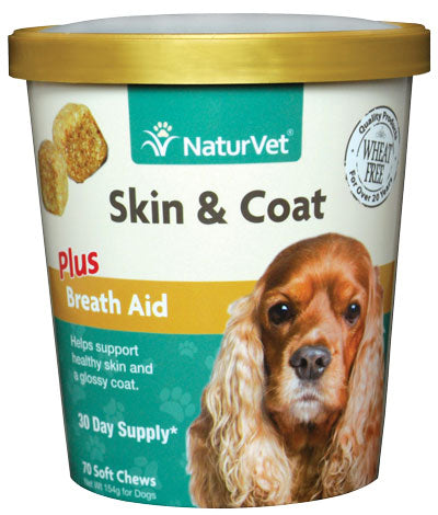 NaturVet Skin and Coat Plus Breath Aid Soft Chew