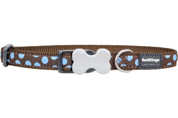 Red Dingo Blue Spots Dog Collars Brown