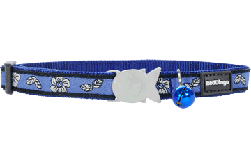 Red Dingo Cat Design Collars Hibiscus Blue