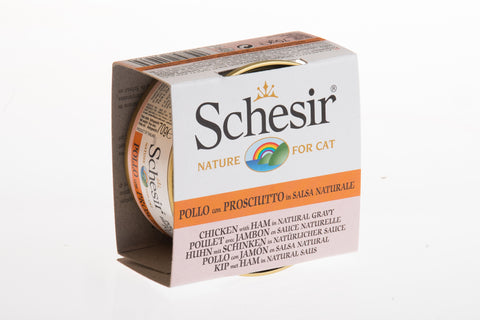 Schesir Chicken with Ham in Natural Gravy Canned Cat Food