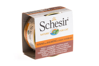 Schesir Tuna with Salmon in Natural Gravy Canned Cat Food