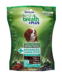 TropiClean Fresh Breath + Plus Advanced Cleaning System Dental Dog Treats
