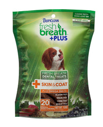 Tropiclean Fresh Breath +Plus Chews for Skin & Coat Dental Treats