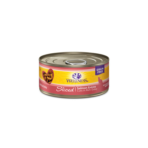 Wellness Grain Free Sliced Salmon Entree Canned Cat Food