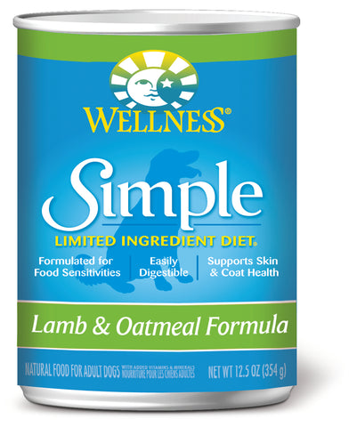 Wellness Simple Lamb & Oatmeal Canned Dog Food - Push Pets Singapore
