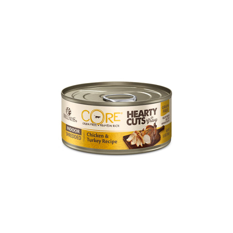 Wellness CORE Hearty Cuts Grain Free Indoor Shredded Chicken & Turkey Canned Cat Food - Push Pets Singapore