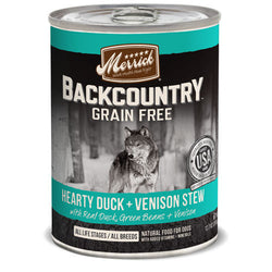 Merrick Backcountry Grain Free Hearty Duck & Venison Stew Canned Dog Food - Push Pets Singapore