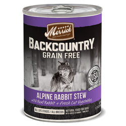 Merrick Backcountry Grain Free Alpine Rabbit Stew Canned Dog Food - Push Pets Singapore