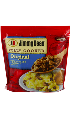 JIMMY DEAN FULLY COOKED ORIGINAL PORK SAUSAGE CRUMBLES, 9.6 OZ