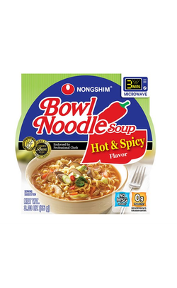 Nongshim Hot & Spicy Flavor Bowl Noodle Soup, 3.03 oz, 12 ct