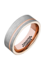 FCL 8mm Polished Mens Tungsten Carbide Rings Rose Gold Plated