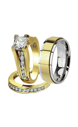 His & Hers 3 Pcs Gold Plated Men's Matching Band Women's Princess Cut Stainless Steel Wedding Set