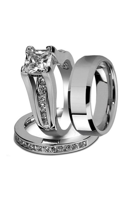 His & Hers Stainless Steel Princess Wedding Ring