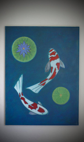 Koi Fish Painting 18x24 Koi Fish Art Waterlily Pond Pad Flying Koi Fish Japanese Zen Painting By Will Wieber