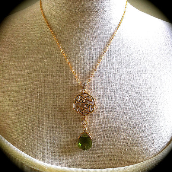 Gold Celtic Knot Necklace, Woodland Green Crystal Pendant, Irish Love Knot, Celtic Wedding Jewelry Outlander Eternity Earrings Set - GracieWieber - 3