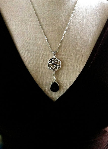 Silver Celtic Knot Necklace, Swarovski Jet Black Teardrop Crystal, Celtic Wedding Jewelry, Bridesmaid Gifts, Outlander Inspired - GracieWieber - 1