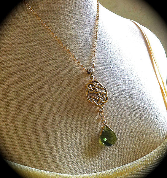 Gold Celtic Knot Necklace, Woodland Green Crystal Pendant, Irish Love Knot, Celtic Wedding Jewelry Outlander Eternity Earrings Set - GracieWieber - 1