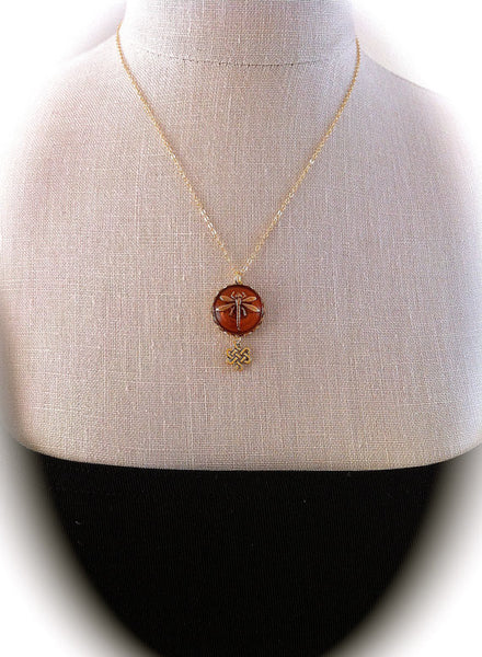 Dragonfly in Amber Gold Eternity Knot Necklace - GracieWieber - 1