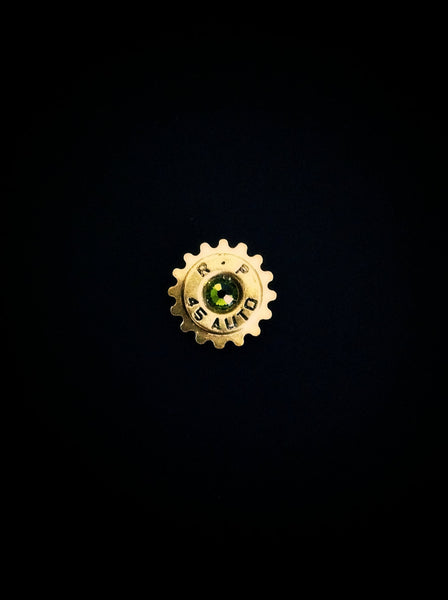 Remington 45 Bullet Lapel Pin Swarovski Crystal Western Steampunk Cog Mens Tie Tack Groomsmen Gift Brass Shell Ammo Birthstone Jewelry - GracieWieber - 1