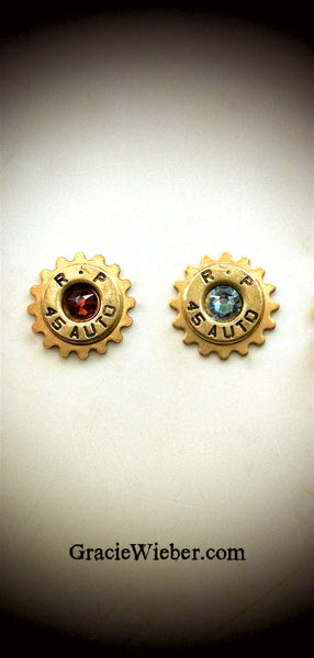 Remington 45 Bullet Lapel Pin Swarovski Crystal Western Steampunk Cog Mens Tie Tack Groomsmen Gift Brass Shell Ammo Birthstone Jewelry - GracieWieber - 4