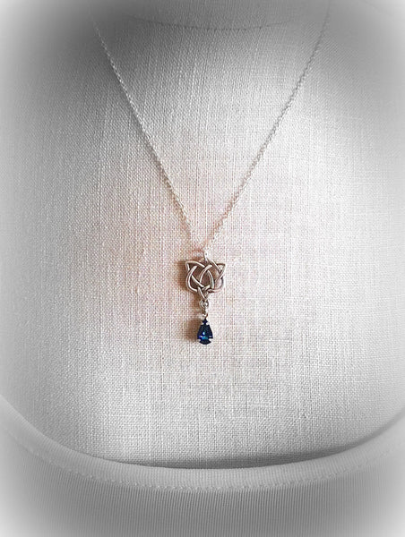 Outlander Jewelry Blue Aura Crystal Necklace Celtic Heart Pendant Sassenach Celtic Blue Aurora Borealis Jewelry Amethyst Sapphire Heliotrope - GracieWieber - 4