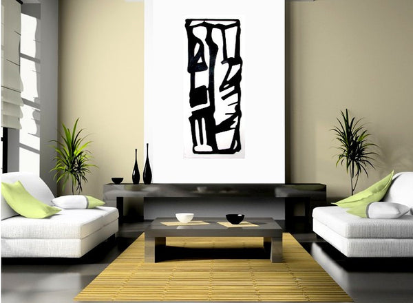"Mid Century Modern Abstract Painting, B & W Urban Graphic Art ""Sacred"" by Will Wieber - GracieWieber - 1"