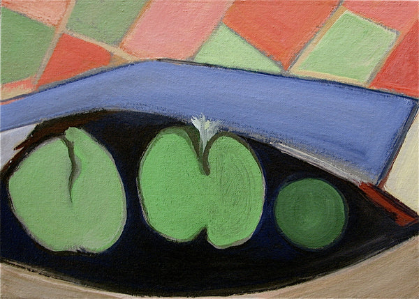Kitchen Art Painting, Green Apples, Granny Smiths & Lime, Blue Green Abstract Painting, Fruit Still Life - GracieWieber - 2