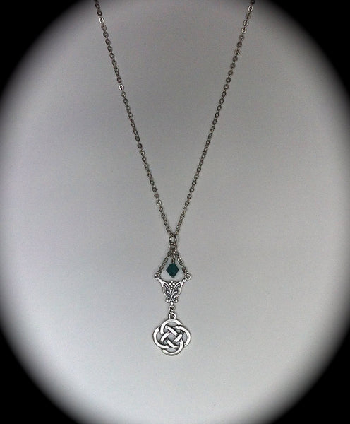 Celtic Knot Necklace, Emerald Swarovski Pendant, Claire, Bohemian Bridal Jewelry, Bridesmaid Necklace, Outlander Inspired - GracieWieber - 4