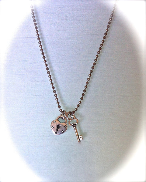 "Key to My Heart Necklace, Heart Lock Key, Friendship Necklace, Best Friend Jewelry, ""Be My Valentine"" - GracieWieber - 2"