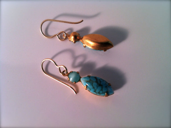 Turquoise Earrings Vintage Moonstones Matrix Marquis Gold Earrings Blue Turquoise Howlite Earrings Mothers Day Gift Boho Chic Jewelry - GracieWieber - 3