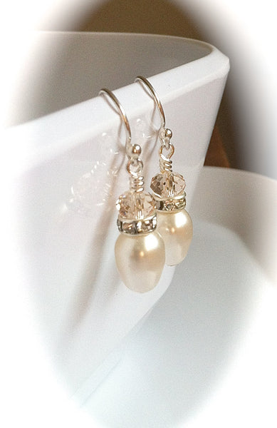 Pearl Teardrop Wedding Earrings, French Blush Swarovski Crystals, Sterling Silver Bridal Earrings, Bridesmaids Jewelry - GracieWieber - 1