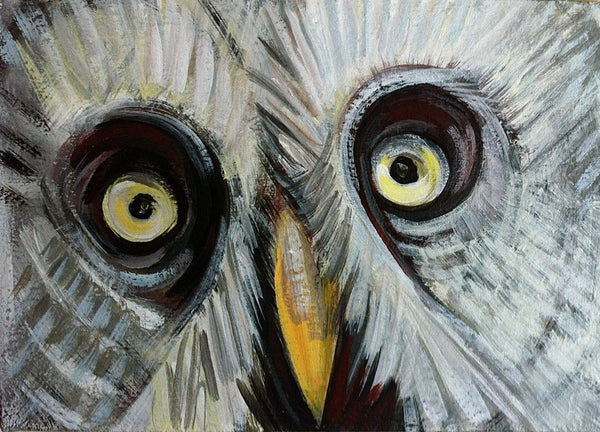 Great Gray Owl Painting, Original Bird Painting, Wildlife Decor by Will Wieber - GracieWieber - 1