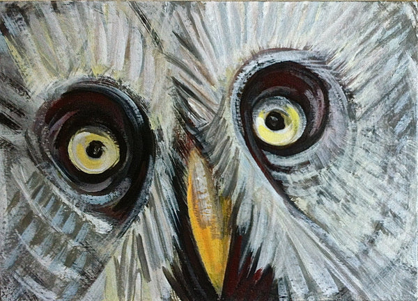 Great Gray Owl Painting, Original Bird Painting, Wildlife Decor by Will Wieber - GracieWieber - 4