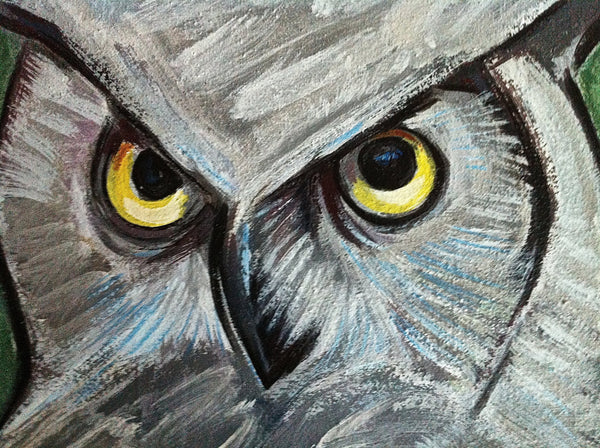 Owl Painting, Hoot Owl, Bird Painting, Nature Wildlife Wall Decor for the Home, Original Bird Portrait Painting by Will Wieber - GracieWieber - 2